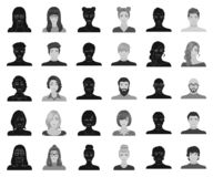 Avatar and face black,monochrome icons in set collection for design. A person`s appearance vector symbol stock web. Avatar and face black,monochrome icons in set vector illustration