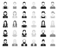 Avatar and face black,monochrome icons in set collection for design. A person`s appearance vector symbol stock web. Avatar and face black,monochrome icons in set stock illustration