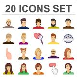 Avatar and face cartoon icons in set collection for design. A person`s appearance vector symbol stock web illustration. Royalty Free Stock Photos
