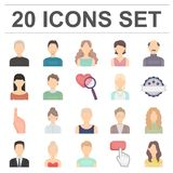 Avatar and face cartoon icons in set collection for design. A person`s appearance vector symbol stock web illustration. Stock Photo