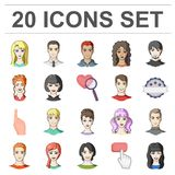 Avatar and face cartoon icons in set collection for design. A person`s appearance vector symbol stock web illustration. Royalty Free Stock Image