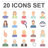Avatar and face cartoon icons in set collection for design. A person`s appearance vector symbol stock web illustration. Royalty Free Stock Photography