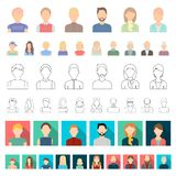 Avatar and face cartoon icons in set collection for design. A person s appearance vector symbol stock web illustration. Avatar and face cartoon icons in set vector illustration