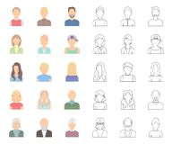 Avatar and face cartoon,outline icons in set collection for design. A person`s appearance vector symbol stock web. Avatar and face cartoon,outline icons in set stock illustration