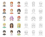 Avatar and face cartoon,outline icons in set collection for design. A person`s appearance vector symbol stock web. Avatar and face cartoon,outline icons in set vector illustration