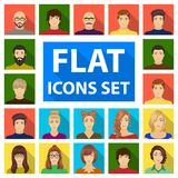 Avatar and face flat icons in set collection for design. A person`s appearance vector symbol stock web illustration. Stock Images