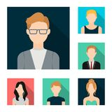 Avatar and face flat icons in set collection for design. A person`s appearance vector symbol stock web illustration. Avatar and face flat icons in set Royalty Free Stock Image