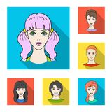 Avatar and face flat icons in set collection for design. A person`s appearance vector symbol stock web illustration. Avatar and face flat icons in set Stock Photo