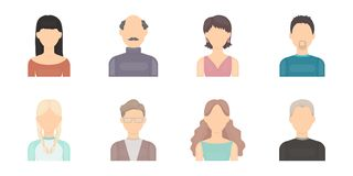 Avatar and face icons in set collection for design.   Royalty Free Stock Photo