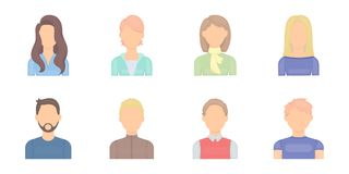 Avatar and face icons in set collection for design.  Stock Photo