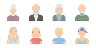Avatar and face icons in set collection for design.   Royalty Free Stock Image