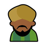 Avatar face indian man bearded mustache turban green dhoti Royalty Free Stock Images