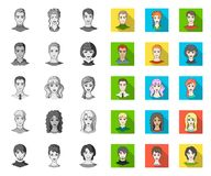 Avatar and face mono,flat icons in set collection for design. A person`s appearance vector symbol stock web illustration. Avatar and face mono,flat icons in set royalty free illustration