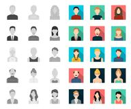 Avatar and face mono,flat icons in set collection for design. A person`s appearance vector symbol stock web illustration. Avatar and face mono,flat icons in set stock illustration