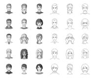 Avatar and face mono,outline icons in set collection for design. A person`s appearance vector symbol stock web. Avatar and face mono,outline icons in set royalty free illustration
