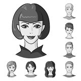 Avatar and face monochrome icons in set collection for design. A person appearance vector symbol stock web illustration. Avatar and face monochrome icons in set Stock Photography