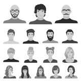 Avatar and face monochrome icons in set collection for design. A person`s appearance vector symbol stock web Stock Photos