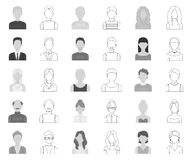 Avatar and face monochrome,outline icons in set collection for design. A person`s appearance vector symbol stock web. Avatar and face monochrome,outline icons in vector illustration