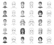 Avatar and face monochrome,outline icons in set collection for design. A person`s appearance vector symbol stock web. Avatar and face monochrome,outline icons in royalty free illustration