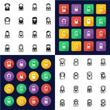 Avatar Famous Scientists All in One Icons Black & White Color Flat Design Freehand Set. This image is a vector illustration and can be scaled to any size without royalty free illustration