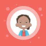 Avatar femminile dell'icona di profilo, ritratto afroamericano del fumetto della donna, Person Face casuale Immagini Stock