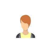 Avatar femminile dell'icona di profilo, ritratto del fumetto della donna, Person Silhouette Face casuale Immagine Stock