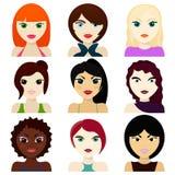 Avatar femminili acconciature, occhi e bocche Fotografia Stock