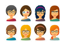 Avatar femminili che indossano i vetri con i vari stili di capelli Fotografie Stock Libere da Diritti