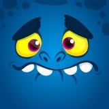Avatar fresco de la cara del monstruo de la historieta Ejemplo azul del monstruo de Halloween del vector ilustración del vector