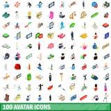 100 avatar geplaatste pictogrammen, isometrische 3d stijl Stock Fotografie