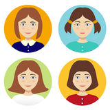 Avatar Girl on a colored background. Vector Girl set hairstyles vector illustration