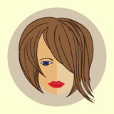 Avatar girl with trendy modern hairstyle, flat design Stock Photo