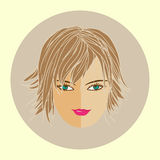 Avatar girl with trendy modern hairstyle, flat design Royalty Free Stock Photo