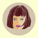 Avatar girl with trendy modern hairstyle, flat design Royalty Free Stock Image
