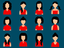 Avatar girls icons set in flat style. Vector. Stock Photos
