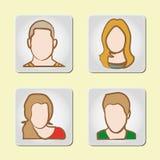 Avatar - grupo de quatro ícones ilustração stock