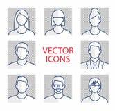 Avatar het pictogram van het profielbeeld vastgesteld met inbegrip van mannetje en wijfje Royalty-vrije Stock Foto
