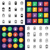 Avatar Historical Figures All in One Icons Black & White Color Flat Design Freehand Set. This image is a vector illustration and can be scaled to any size Royalty Free Stock Image