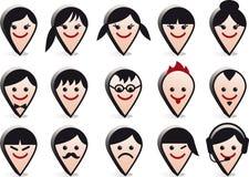 Avatar hoofden, de vectorreeks van het gezichtenpictogram Stock Foto's