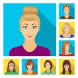 Avatar i twarzy płaskie ikony w ustalonej kolekci dla projekta Osoby pojawienia symbolu zapasu sieci wektorowa ilustracja Obraz Royalty Free