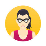 Avatar icon, cartoon girl in glasses in flat style Royalty Free Stock Photography