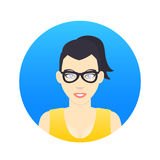 Avatar icon, girl in glasses in flat style Stock Images