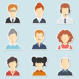 Avatar icon set. Trendy face avatar icons business world web computer users profile and forums participants collection isolated vector illustration Stock Image