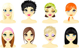 Avatar Icon Women. S set,A young ladies vector illustration