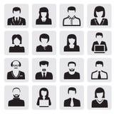 Avatar icons. Vector black avatar icons set on gray Royalty Free Stock Image