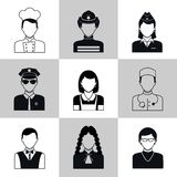 Avatar icons black set Stock Images