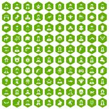 100 avatar icons hexagon green Royalty Free Stock Photography