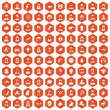 100 avatar icons hexagon orange. 100 avatar icons set in orange hexagon isolated vector illustration Royalty Free Illustration