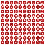 100 avatar icons hexagon red. 100 avatar icons set in red hexagon isolated vector illustration Stock Illustration