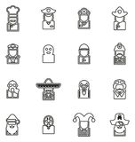 Avatar Icons Historical Figures Set 1 Thin Line Vector Illustration Set. This image is a vector illustration and can be scaled to any size without loss of Stock Photos